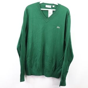 New Lacoste Mens Large V Neck Sweater Green Cotton